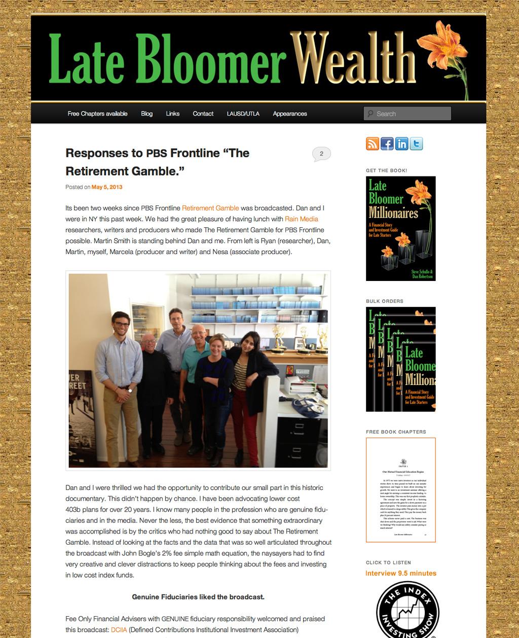 Late Bloomer Wealth - retirement planning. Websites by AquaZebra.com